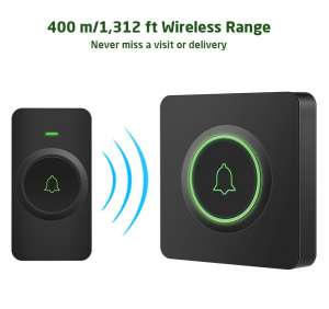AVANTEK DB-21, black wireless doorbell. 1 receiver, 1 push button, cold weather doorbell
