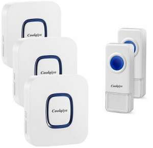 Coolqiya wireless doorbell, 3 receivers, 2 push buttons, cold weather resistant