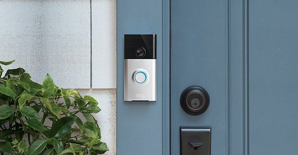 Ring WiFi Enabled Video Doorbell, attached to a door frame